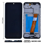 LCD Screen Digitizer Assembly with Frame for Samsung Galaxy A01(2019) A015(Narrow FPC Connector) (Size 144.2mm) - Black